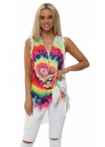 Rainbow Tie Side Dreamcatcher Pom Poms Top