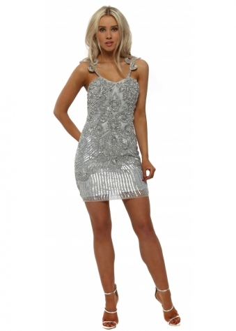 Silver Fully Sequinned Mini Dress