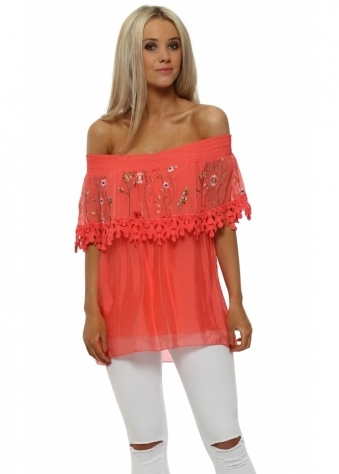 Coral Silk Floral Embroidered Bardot Top