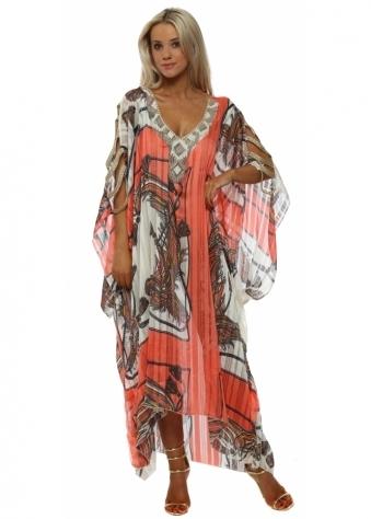 Coral Scarf Print Ladder Sleeve Maxi Kaftan Dress