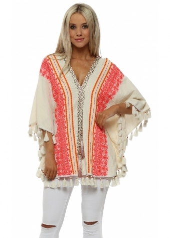 Orange Embroidered Tassel Poncho Kaftan