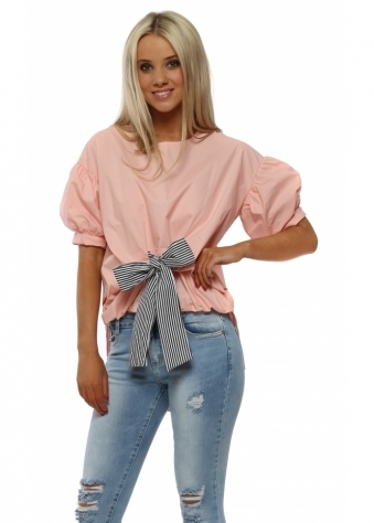 Salmon Pink Puffball Striped Bow Dip Hem Blouse