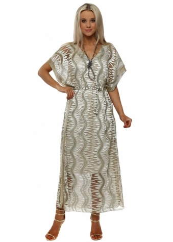 Gold Tulle Embroidered Maxi Kaftan Dress