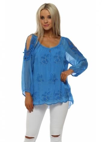Cobalt Blue Silk Embroidered Cold Shoulder Top
