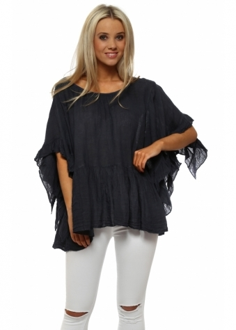 Navy Blue Linen Ruffle Sleeve Baggy Top