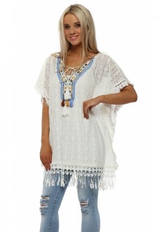 Ivory Crochet Lace Tassle Kaftan Top