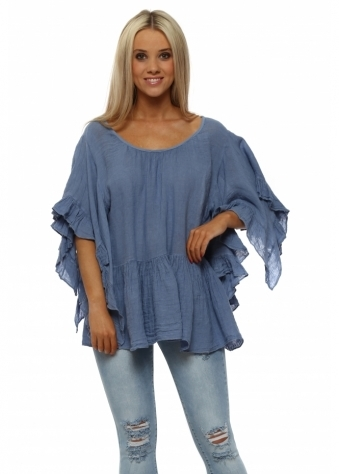 Denim Blue Linen Ruffle Sleeve Baggy Top