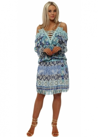 My Story Blue Printed Chiffon Cold Shoulder Dress