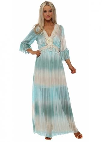 Turquoise Stripe Chiffon Lace Trim Maxi Dress