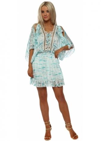 Aqua Ribbon Tie Cold Shoulder Dress