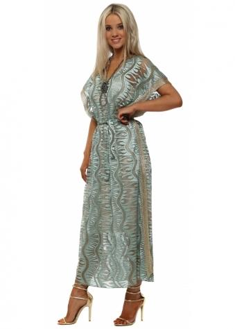 Turquoise Tulle Embroidered Maxi Kaftan Dress