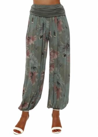 Khaki Floral Print Harem Trousers