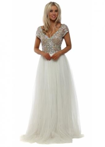 Embellished Bodice Tulle Maxi Dress