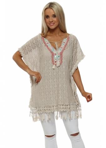 Mocha Crochet Lace Tassle Kaftan Top