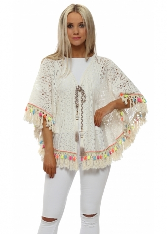 Cream Lace Rainbow Peacock Embellished Cape