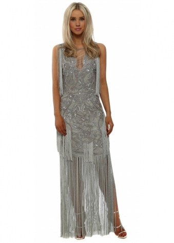 Silver Embellished Maxi Dress With Tassels