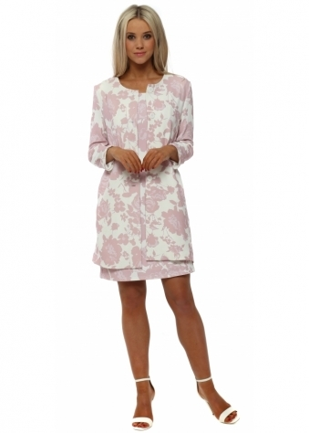 Pink Flower Print Lightweight Coat