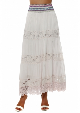 Pink Tiered Lace Embroidered Maxi Skirt