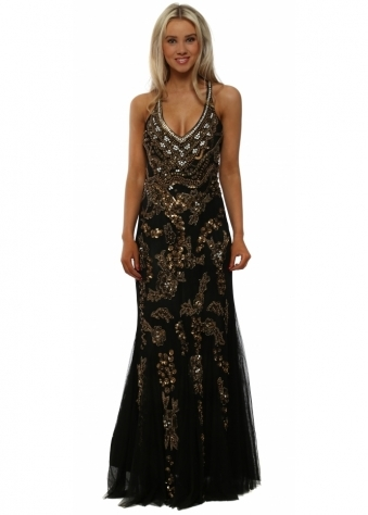 Gold Sequin Black Mesh Strappy Maxi Dress