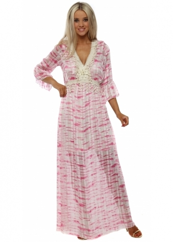 Pink Tie Dye Chiffon Lace Trim Maxi Dress