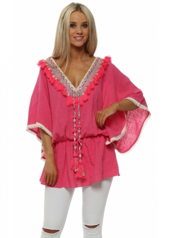Pink Tassle Kaftan With Shell Detail