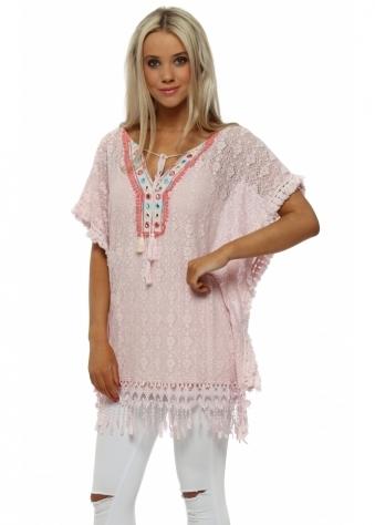 Pink Crochet Lace Tassle Kaftan Top