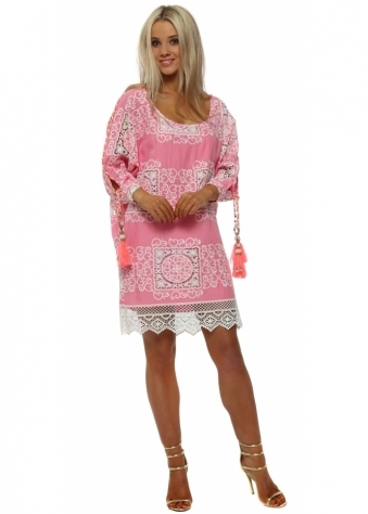 Candy Pink Lace Overlay Shift Dress