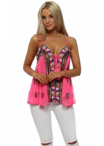 Hot Pink Luxe Beaded Tassel Top