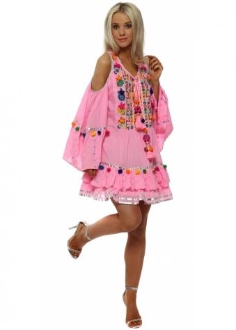 Pink Tassel Beaded Layered Cold Shoulder Mini Dress