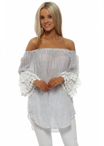White Linen Pin Stripe Bardot Lace Cuffs Top