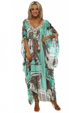 Jade Scarf Print Ladder Maxi Kaftan Dress
