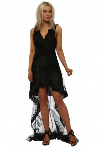 Black Hi Low Beaded Ribbon Dress With Lace Train