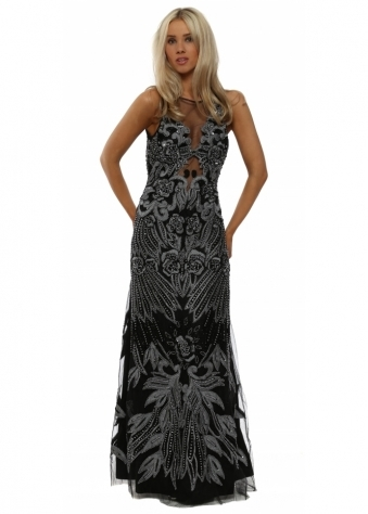 Fully Embellished Black Maxi Dress With Keyhole Back