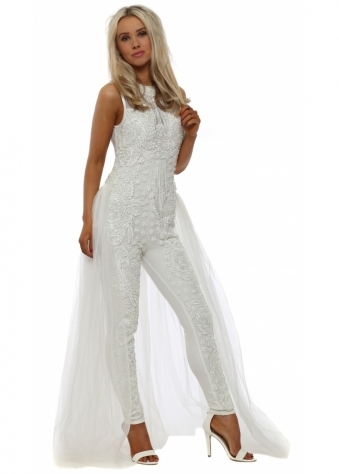 White Pearl Embellished Jumpsuit With Maxi Skirt
