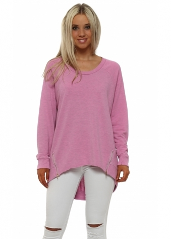 Cleo Zippy Loop Back Sweater In Passionata Melange