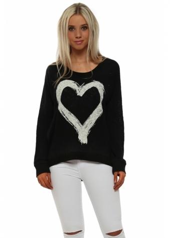 Renee Black Heart Slub Knit Ribs Jumper