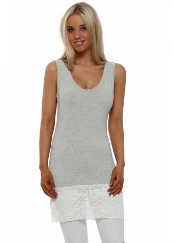 Sammy Vanilla Melange Lace Hem Long Vest