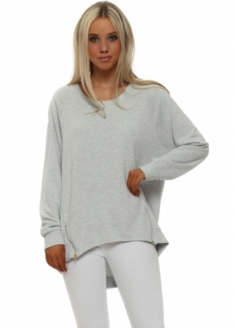 Cleo Zippy Loop Back Sweater In Vanilla Melange