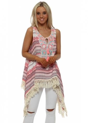 Red Inca Sequinned Dip Side Tunic Top