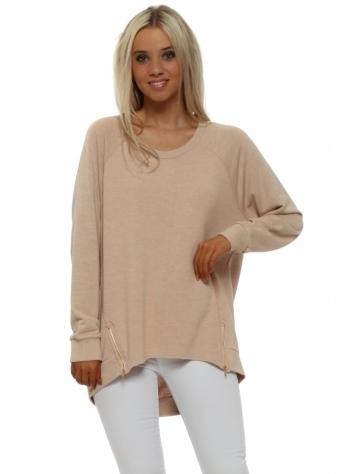 Cleo Zippy Loop Back Sweater In Seduction Melange