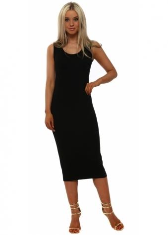 Nancy Black Jersey Midi Dress