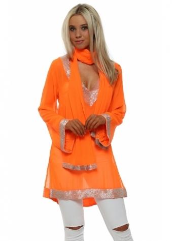 Neon Orange Sequinned Kaftan With Shawl