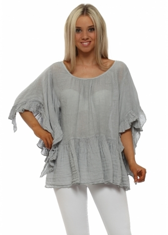 Grey Linen Ruffle Sleeve Baggy Top