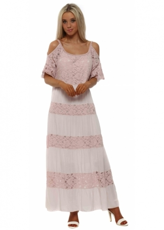 Pink Lace Cold Shoulder Maxi Dress
