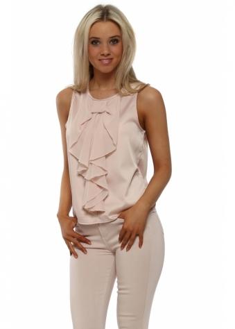 Pink Chiffon Bow Sleeveless Blouse