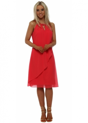 Raspberry Floating Pearl Collar Dress