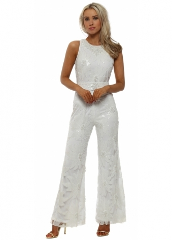 Pearl Embellished White Jumpsuit