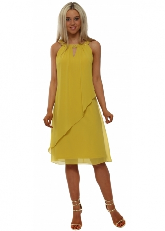 Mustard Floating Pearl Collar Dress
