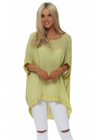 Lime Sequinned Oversized Slouch Top