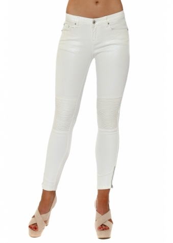 White Pearlescent Ribbed Knee Cropped Stretch Jeans